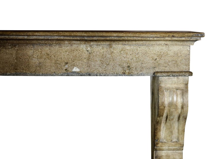 19th Century Fine French Small Antique Limestone Fireplace Surround for Cosy Country Interior For Sale
