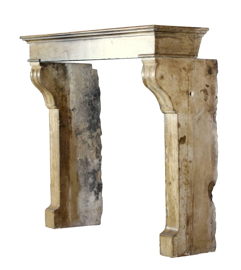 Fine French Small Antique Limestone Fireplace Surround for Cosy Country Interior For Sale 1