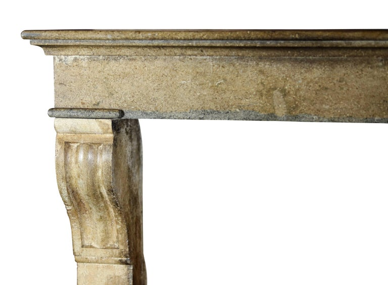 Fine French Small Antique Limestone Fireplace Surround for Cosy Country Interior For Sale 2