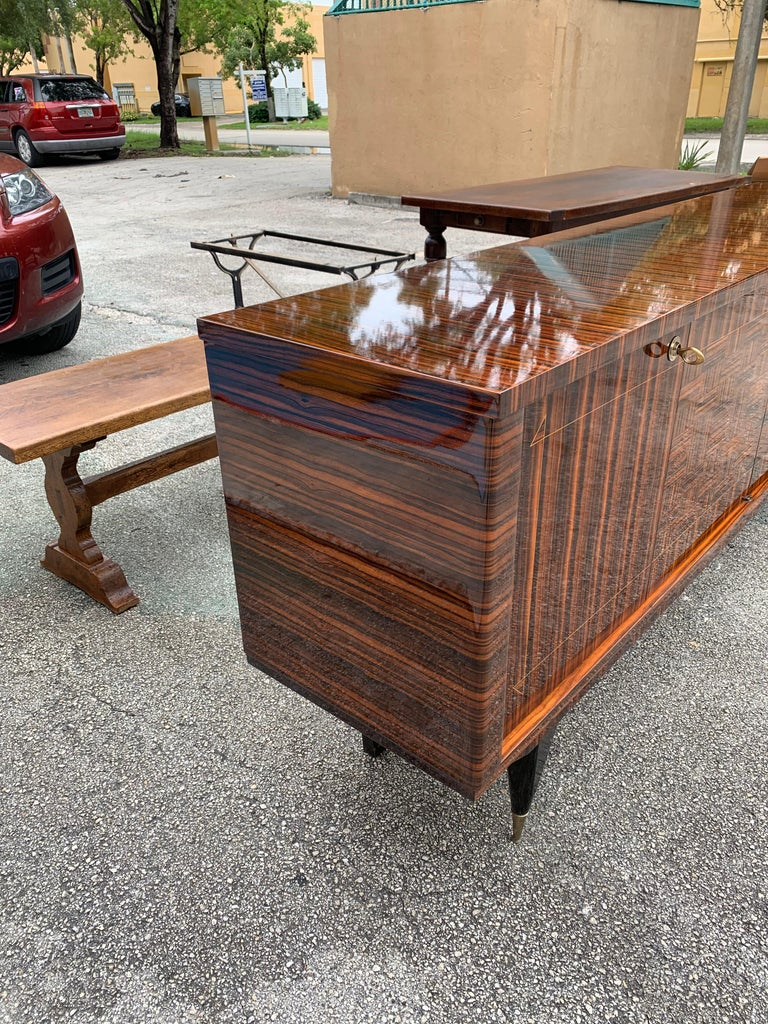 Fine French Vintage Macassar Ebony Buffet / Sideboard / Credenza For Sale 5