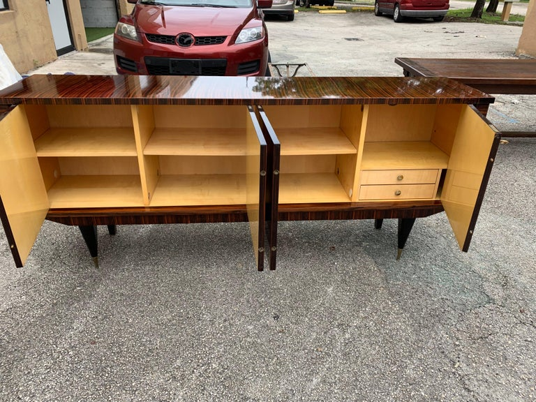 Fine French Vintage Macassar Ebony Buffet / Sideboard / Credenza For Sale 9