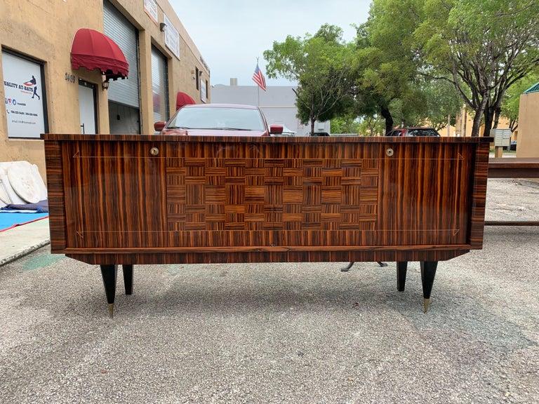 Brass Fine French Vintage Macassar Ebony Buffet / Sideboard / Credenza For Sale