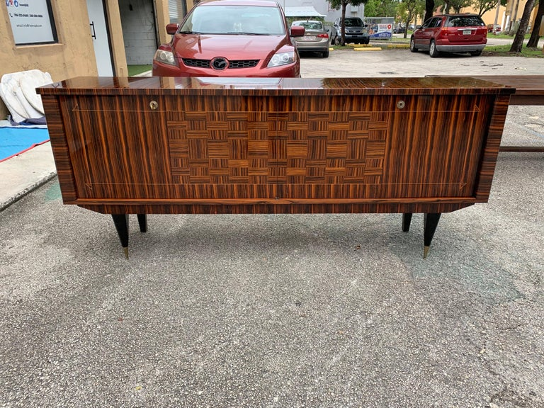 Fine French Vintage Macassar Ebony Buffet / Sideboard / Credenza For Sale 2