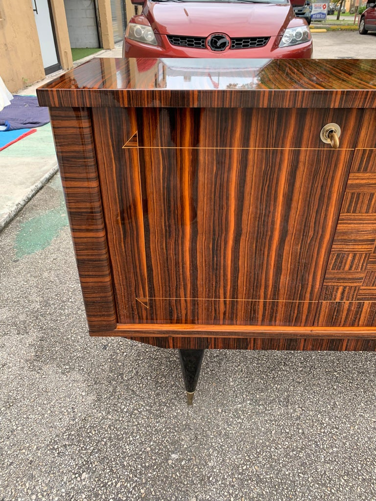 Fine French Vintage Macassar Ebony Buffet / Sideboard / Credenza For Sale 3