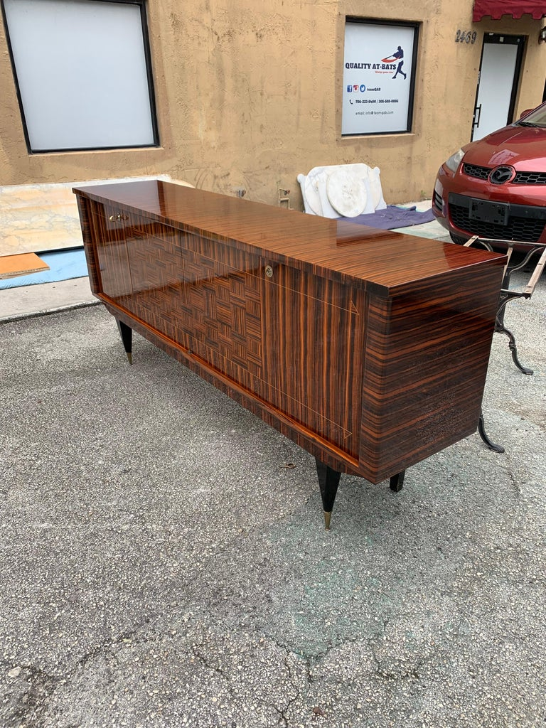 Fine French Vintage Macassar Ebony Buffet / Sideboard / Credenza For Sale 4