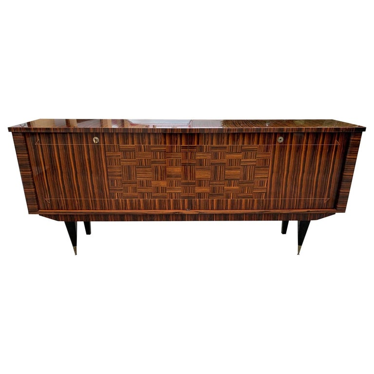Fine French Vintage Macassar Ebony Buffet / Sideboard / Credenza For Sale