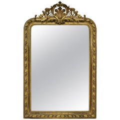 Fine XIX Century French Water Gilded Overmantel Mirror
