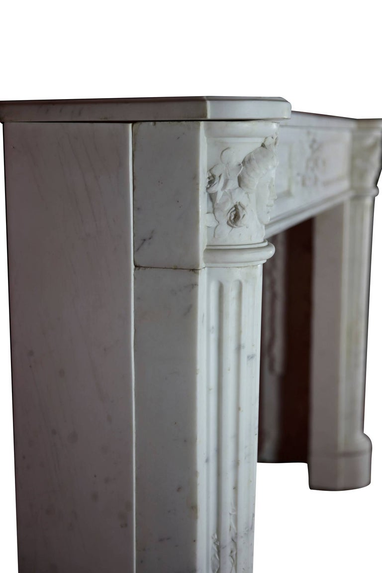 Fine French White 18th Century Carrara Marble Antique Fireplace Surround For Sale 5