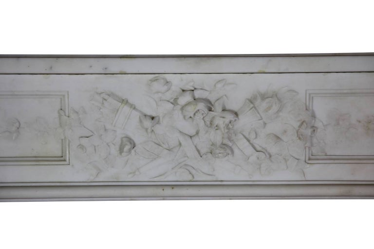 Louis XVI Fine French White 18th Century Carrara Marble Antique Fireplace Surround For Sale