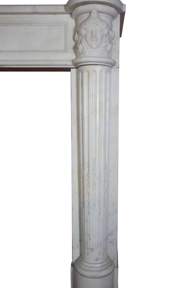 Polished Fine French White 18th Century Carrara Marble Antique Fireplace Surround For Sale