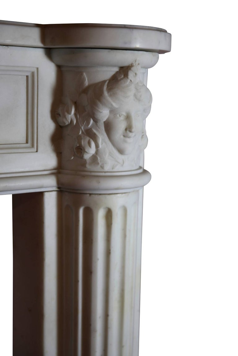 Fine French White 18th Century Carrara Marble Antique Fireplace Surround For Sale 1