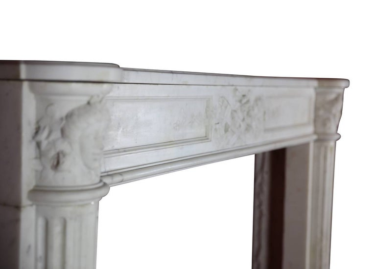 Fine French White 18th Century Carrara Marble Antique Fireplace Surround For Sale 3