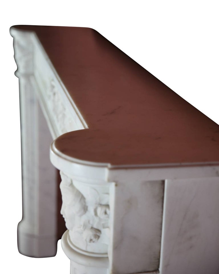 Fine French White 18th Century Carrara Marble Antique Fireplace Surround For Sale 4