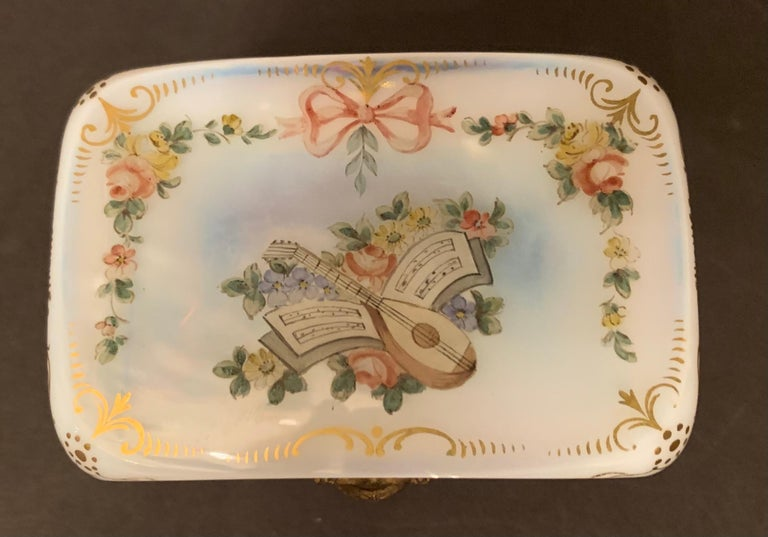 Hand-Painted Fine French White Opaline Glass Ormolu Bronze Hand Painted Jewelry Vanity Box For Sale