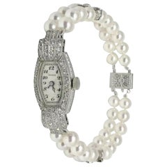 Fine Geneve Akoya Pearl Diamond Platinum Watch Bracelet Certified