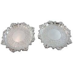 Fine George III Antique Sterling Silver Salvers Made in Edinburgh by John McKay
