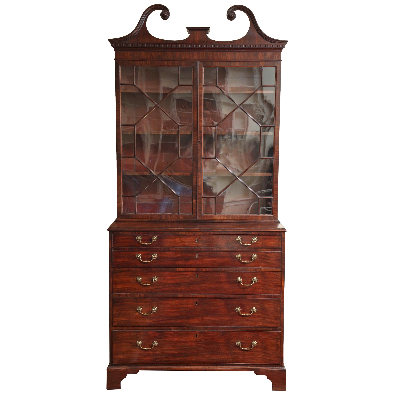 Fine George III Mahogany Secretaire Bookcase