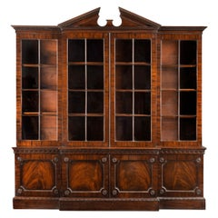 Fine George III Period Mahogany Breakfront Bookcase