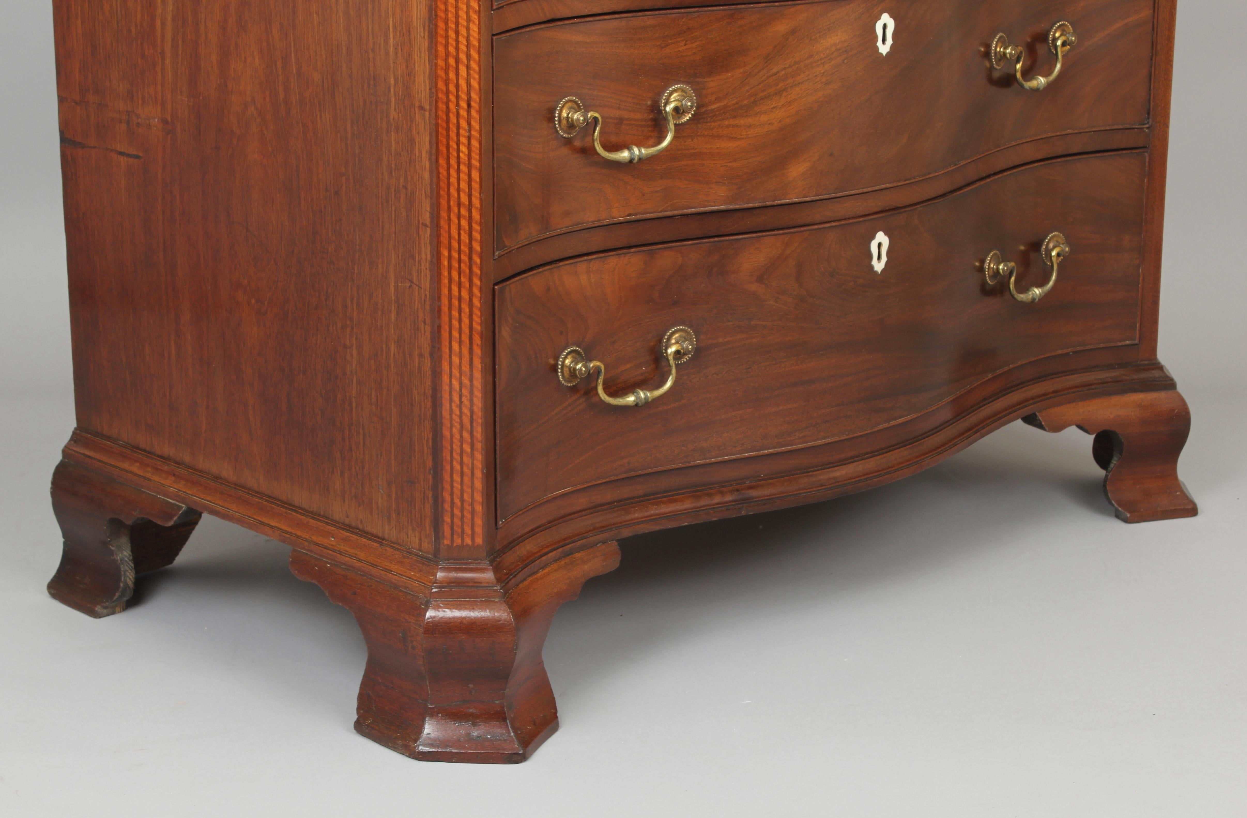 Fine George III Period Mahogany Serpentine Dressing-Chest of Small Proportions