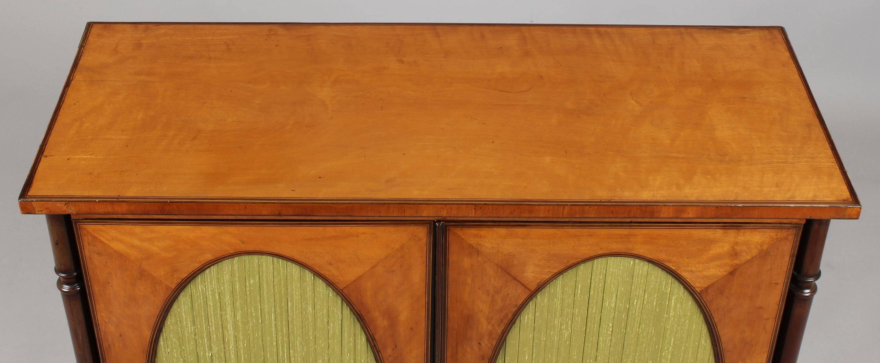 Fine George III Period Satinwood Small Cabinet in the Sheraton Manner