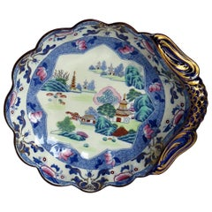 Fine Georgian Hicks and Meigh Ironstone Shell Dish in Chinese Landscape Pattern