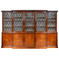 Fine Georgian Mahogany Inlaid Library Bookcase, circa 1800