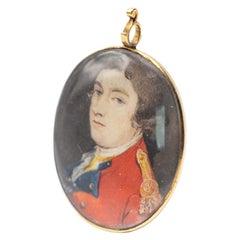 Fine Georgian Original Military Portrait Miniature of a Young Officer circa 1790