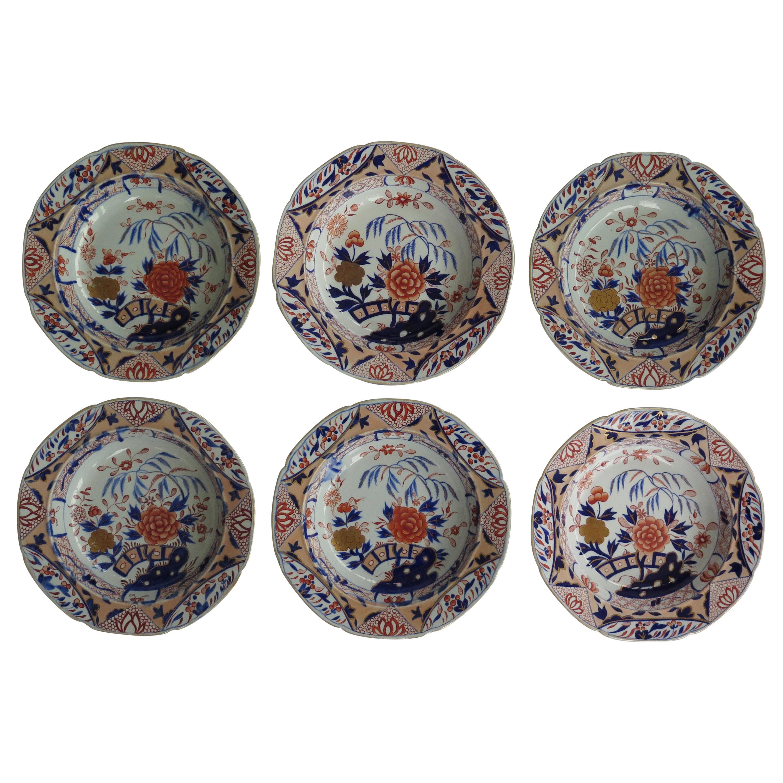 Fine Georgian Set of Six Mason's Ironstone Soup Bowls or Plates, circa 1818