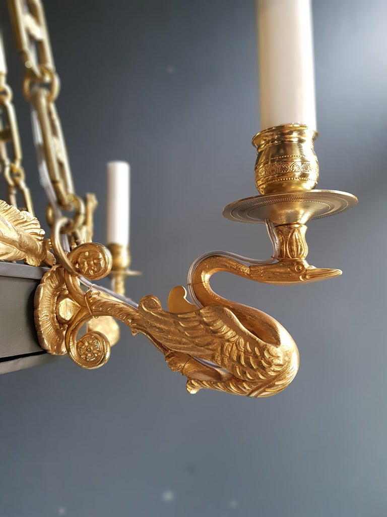 19th Century Fine Gilt Antique French Empire Lustre Neoclassical Patina Gilt Brass Chandelier For Sale