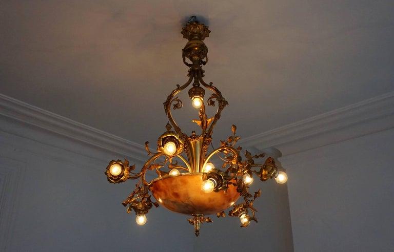 Brass Fine Gilt Bronze and Alabaster Belle Époque Chandelier For Sale