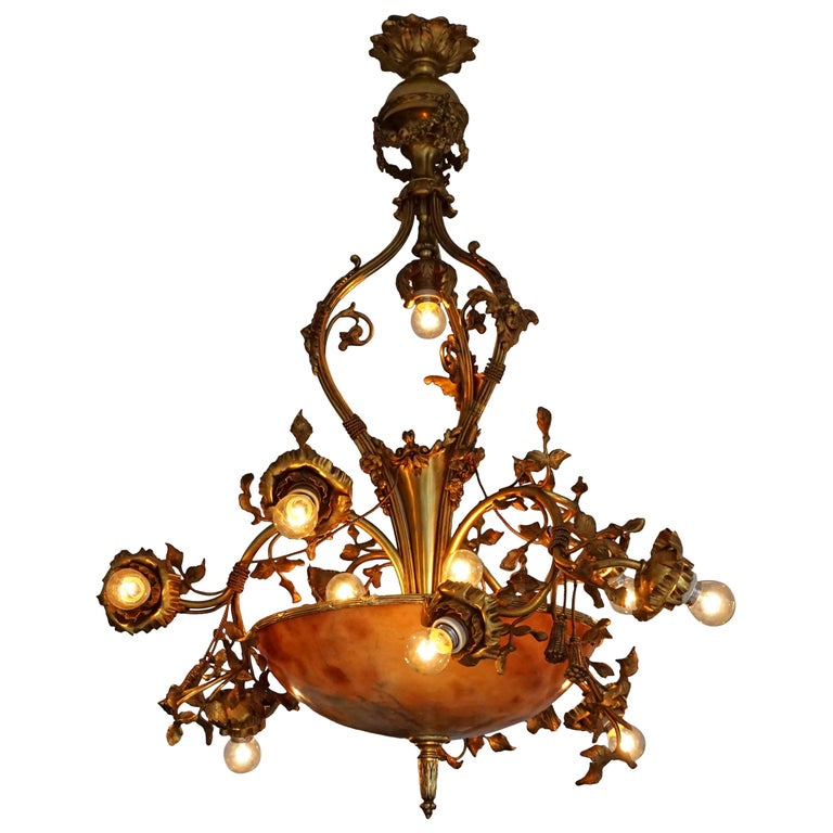Fine Gilt Bronze and Alabaster Belle Époque Chandelier For Sale