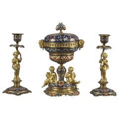 Fine Gilt-Bronze and Champlevé Enamel Garniture Set, circa 1890