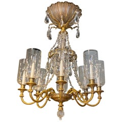 Very Fine Neoclassical Gilt Bronze and Crystal Chandelier by Maison Baguès