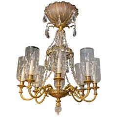 Fine Gilt Bronze and Crystal Glass Chandelier by Maison Baguès