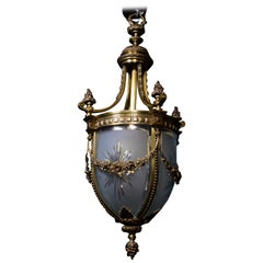 Fine Gilt Bronze Lantern with Handcut and Beveled Curved Crystal Panels