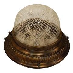 Fine Gilt Bronze Plafonnier with Handcut Crystal Dome
