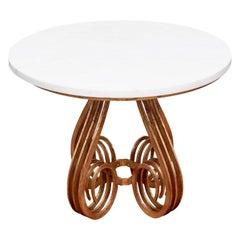 Fine Gilt Iron Marble Top Center Table