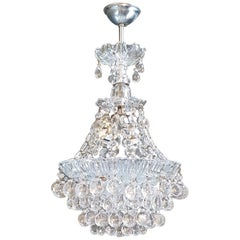 Fine Glass Chandelier Crystal Lustre Ceiling Lamp Antique Art Deco Chrome Silver
