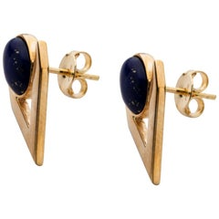 Fine Gold Lapis Earrings