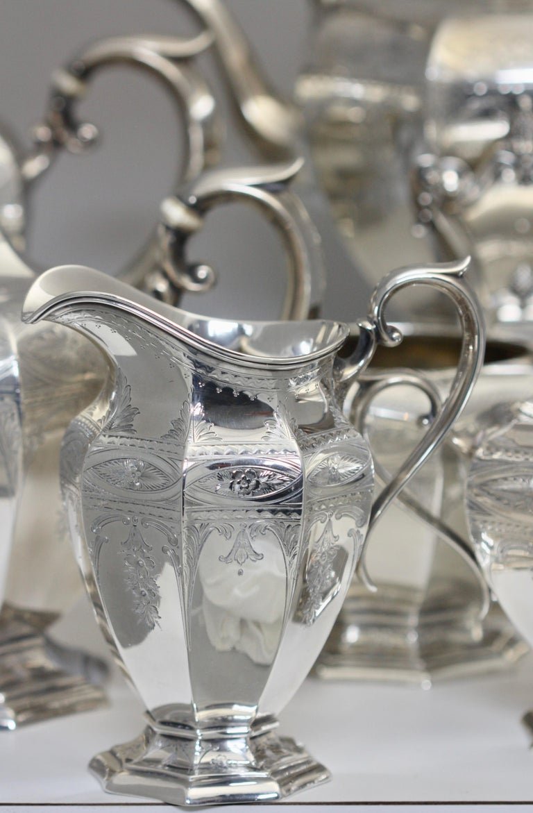 Fine Gorham Sterling Silver Tea and Coffee Service For Sale 1