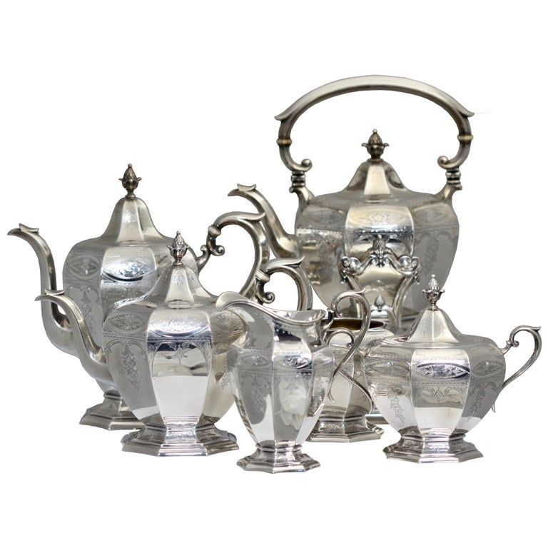 Fine Gorham Sterling Silver Tea and Coffee Service For Sale