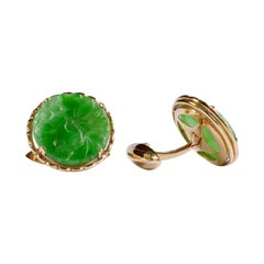 Emerald-Green Untreated Jadeite Cufflinks Circa 1940s - 1950s