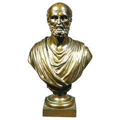 Fine Grand Tour Style Bronze Bust of a Greek Philosopher, after Mathurin Moreau