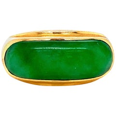 Fine Green Jade 18 Karat Gold Bar Ring Estate Fine Jewelry