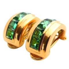 Fine Green Tourmalines 18K Gold Earrings