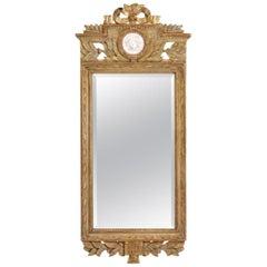 Fine Gustavian Mirror, Scraped to Original Guilt, 19th Century