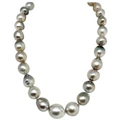 Hanadama Tahitian Pearl Necklace 14.3 mm Women 14k Gold Certified
