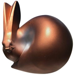 """Fine Hand Cast """"Copper Finish Rabbit"""" from Old Japan"""