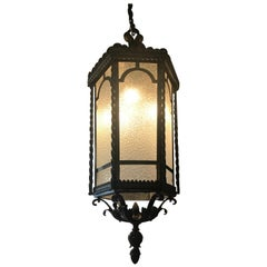 Fine Hand Forged Eight-Light Iron Lantern with Glass Panels