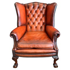 Fine Hand Made English Leather Wing Armchair